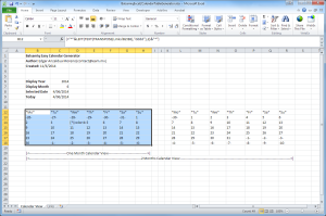 Excel Screenshot of the Balsamiq Excel 2 Table Calendar Generator