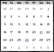 Table Calendar View using Balsamiq's Markup